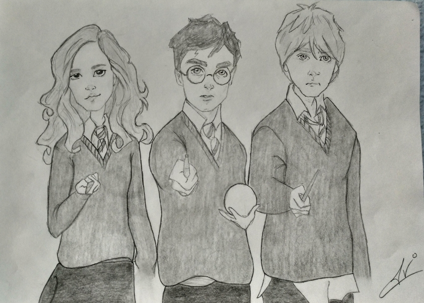 Daniel Radcliffe, Emma Watson, Rupert Grint by Nereaaj
